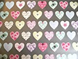 2 SHEETS OF LOVE HEARTS WRAPPING PAPER WITH SILVER BACKGROUND