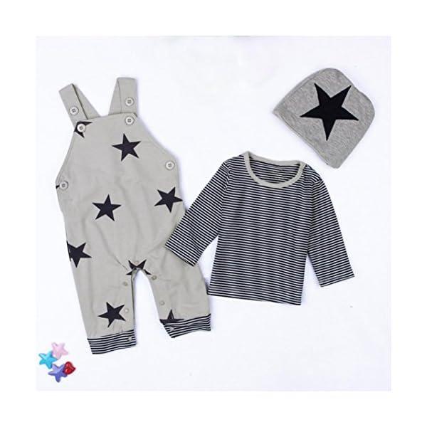 Covermason Recién Nacido Bebé Conjuntos Rayas Camisetas Pantalones de babero Sombrero (3PCS) (6M, Gris) 4