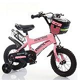 Bicyclehx Kinder Fahrrad Jungen Mädchen Fahrräder 2-11 Jahre Baby Carrier Studenten Safe Sicheres Kind Fahrrad mit Leinwand Korb Wasserkocher in 12/14/16/18 Zoll (Color : Pink, Größe : 18 inch)