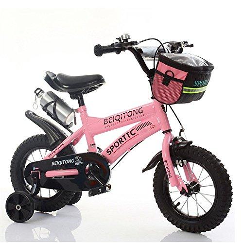 Bicyclehx Kinder Fahrrad Jungen Mädchen Fahrräder 2-11 Jahre Baby Carrier Studenten Safe Sicheres Kind Fahrrad mit Leinwand Korb Wasserkocher In 12/14/16/18 Zoll (Color : Pink, Größe : 14 inch)
