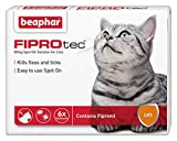 Beaphar® FIPROtec® Kill Flea Ticks Spot On Drop Treatment Protection for Small Medium Large XL Dogs Puppies & Cats (Cats, 6 Treatments)