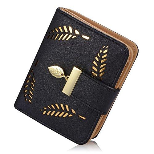 Portemonnaie kurzer Geldbörse Damen IHRKleid® Brieftasche Süß Katze Mädchen Handtasche (Schwarz) - Damen-fossil Handtaschen