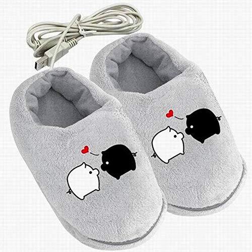 Usb 2.0 alimentato cartoon modello di riscaldamento accogliente peluche scarpe da casa riscaldato pantofole scaldapiedi riscaldate scarpe computer portatile scarpe calde per donna uomo ragazze ragazzi