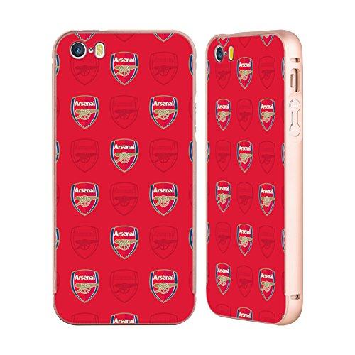 Ufficiale Arsenal FC Mimetizzazione 2017/18 Modelli Crest Oro Cover Contorno con Bumper in Alluminio per Apple iPhone 5 / 5s / SE Rosso