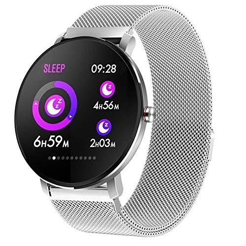 h 1,3-Zoll-Frauen-Mann-voller Touch Screen intelligente Uhr-Eignungs-Verfolger-Männer IP68 wasserdicht,White ()