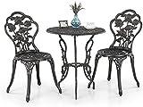 iKayaa 3PCS Patio Bistro Set Iron Aluminum Porch Balcony Garden Table & Chairs Set Furniture Rose Design Antique Copper