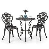iKayaa Set de Mesa y Sillas para Jardín (Color Blanco,Clásico y Elegante), Conjunto de Muebles para Porche Balcón Café Bistro Patio Aire Libre Piscina