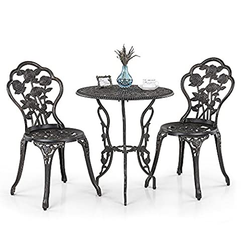 iKayaa 3PCS Patio Bistro Set Iron Aluminum Porch Balcony Garden Table & Chairs Set Furniture Rose Design Antique