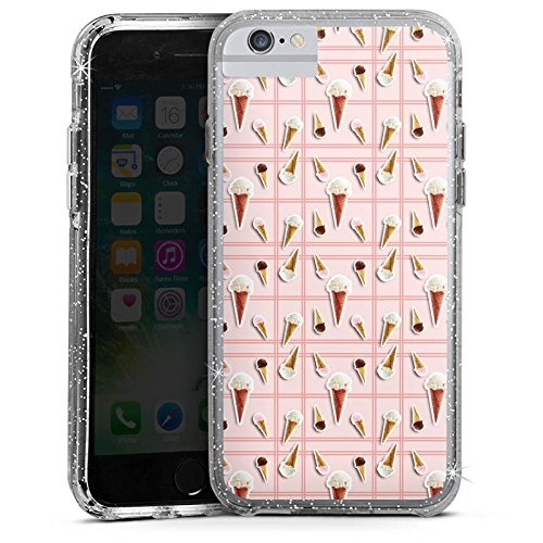 Apple iPhone 6s Bumper Hülle Bumper Case Glitzer Hülle Ice Cream Eis Creme Sommer Bumper Case Glitzer silber