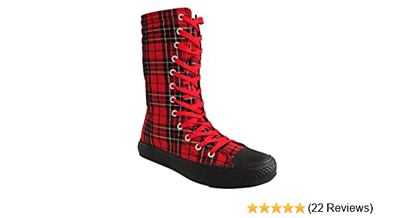 ... buy 09eaa01705 Blue Banana Tartan Print Tall Boots (Red Black) Amazon.co.  ... 18a3beaf7f