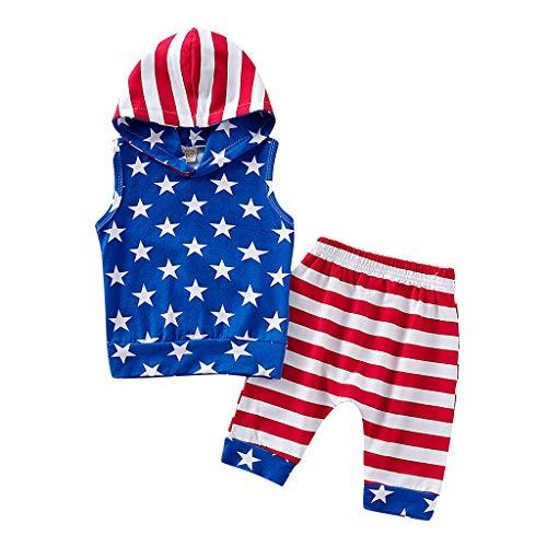 Alwayswin Kleinkind Baby 4. Juli Sterne und Gestreifte Patriotische Kapuzenoberteile + Shorts Outfits Ärmelloses Oberteil mit Kapuze und Shorts mit Independence Day-Aufdruck