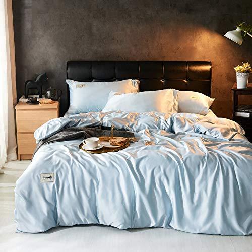 FJXJLKQS 4 Stück Satin Seidenblume Bettwäsche-Sets King-Size-Bettbezug Spannbetttuch Kissenbezüge Set Von,White-Superking:220x240 -