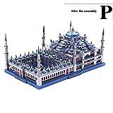 XINGYAN 3D Puzzle, Metall 3D-Metall-Modellbausatz Übungsgehirn Ep-Färbung Ausgezeichnete Verarbeitung Name (Kathedrale Von Burgos, Blaue Moschee),Blue