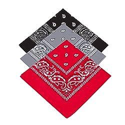 Pack of 3 X Paisley Bandana for Men / Women Kids Girls & Boys Bandanna Head scarf / Neck Scarf / Neckerchief / Handkerchief / Head Tie 100% Cotton (Black, Grey,Red)