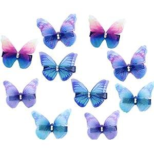 Bunte 3D Schmetterling Haarspange Set 10 Stück Organza Haarclip Haaraccessoire für Damen Mädchen Kinder Party