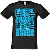 Bayerisches Wiesn T-Shirt für Herren - A Breiss in NA Tracht - Trachtenshirt mit Dialekt Spruch zum Oktoberfest, Größe:L