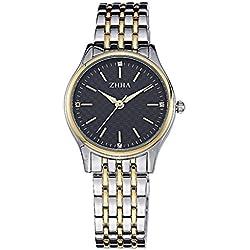 ZHHA Women's 041 Luxury Quartz Black Dial Gold Stainless Steel Bracelet Wrist Watch Waterproof