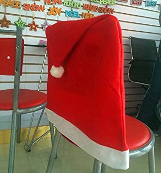 Pack Of 4 Red Santa Hat Dining Chair Seat Covers Xmas Christmas Party Decoration Set Amazoncouk Kitchen Home