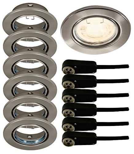 Trango® 6er Set runde Einbaustrahler Nickel matt (Edelstahl-Look) TG6729-062 inkl. GU10 Sicherheit-Anschlußkasten (Nickel Set)