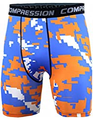 TOOGOO(R) New Running Sport Mens Basketball Tight Compression Shorts Gym Fitness Clothing Training Wicking Short Pants Homme Men(Orange blue and white XL)