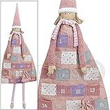 matches21 Wunderschöner großer Adventskalender Mädchen Puppe zum Selbstbefüllen 140 cm zum Aufhängen aus Textil