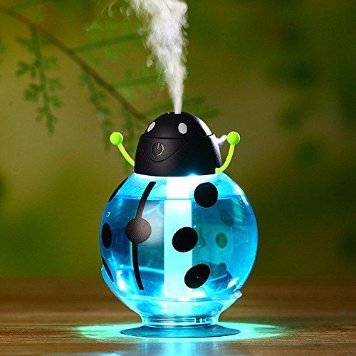 efanr 260ml Käfer Cool Luftbefeuchter mit LED Licht 360Grad Drehbar Creative Ultraschall-Luftbefeuchter Haut Replenishment USB Lufterfrischer Luftreiniger Mist Maker für Schlafzimmer Home Office KFZ blau (Die Maschine Bambus-sticks)