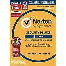 Norton Security Deluxe Antivirus Software 2018 / Zuverlässiger Virenschutz (Jahres-Abonnement) für bis zu 5 Geräte inkl. Norton Utilities / Download für Windows, Mac, Android & iOS