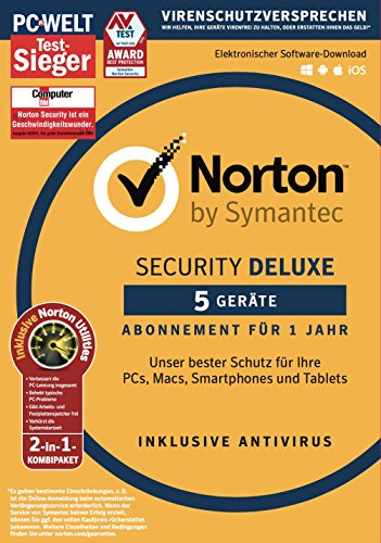 Norton Security Deluxe mit Norton Utilities 16.0 Bundle | 5 Geräte | PC/Mac/Smartphone/Tablet | Download