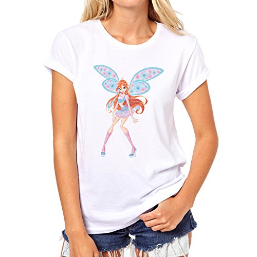 Winx Club Red Hair Blue And Pink Wings Heart Damen T-Shirt Weiß