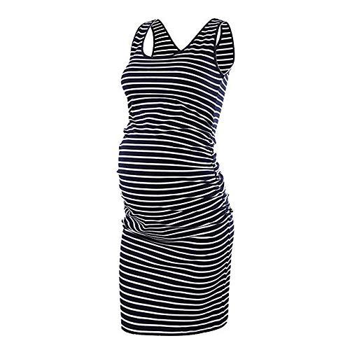 Riou Damen Umstandsmode Ärmellose Kleider Umstandskleid Festlich Lang Umstandsshirt Langarm Schwangerschaft Weste Kleid