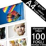 Confezione 100 fogli Carta fotografica Adesiva A4 Premium foto Glossy Lucida 105 gr. per Stampanti INKJET 210x297 mm