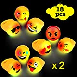 Linxii 18pcs Light up Emoji Rings, LED light up toys for party favor, Small Cute Emoji flashing Rings for Kids - with 9 faces