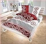 Unbekannt Dobnig Renforcé Bettwäsche 2tlg. Rot-Weiß-Grau Kreise/Ornamente 100991-409 Bettbezug 80x80 cm / 135x200 cm