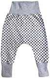 Wollhuhn ÖKO Lässige Babyhose Kritzelsternchen grau/schwarz für Jungen und Mädchen (aus Öko-Stoffen, Bio), 20180909, Größe: 68 (ca. 6-12 Monate)
