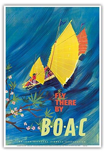 Der Orient - Chinesische Dschunke (Boot) - Fliege mit BOAC (British Overseas Airways Corporation), Britische Fluggesellschaft Fluglinie Luftfahrtgesellschaft - Vintage Retro Fluggesellschaft Reise Plakat Poster von David Judd c.1961 - Kunstdruck - 33cm x 48cm (Boote Chinesischen Dschunke)