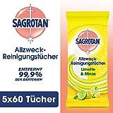 Sagrotan Allzweck-Reinigungstücher Limette & Minze – Zur praktischen Reinigung von Oberflächen – 5 x 60 Feuchttücher in wiederverschließbarer Verpackung