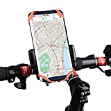 Bike Phone Holder for Smartphone, HowiseAcc Universal Bicycle Mount One-button Adjust the Width fit for Phones GPS Device Compatible with Road & Mountain Bike, Motorbikes & Scooters
