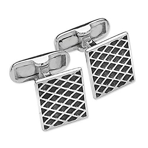 Homme diagonale Grille/Grille de diamant carré Boutons de manchette - Argent Sterling 925 et émail noir - Classic Étui style Boutons de manchette