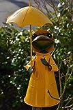 Zaunhocker Frosch-lustiger Zaunhocker Frosch mit Regenschirm, gelb- Gartenzaungucker -aus Metall- für Haus und Garten, stabile gute Verarbeitung
