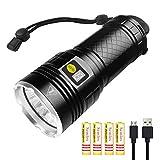 Semlos LED taschenlampe 10000 Lumen, 12xLEDs taschenlampe extrem hell, USB Wiederaufladbare, 4 Modi, Power-Display-Funktion(Schwarz)