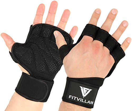 ad7b48e36bd98 Crossfit Gloves - Gym, Pull Up Bar, Weight Lifting, Calisthenics,  Gymnastics, Deadlift Workout Fingerless Padded Hand Grip with Wrist Wrap  Support ...