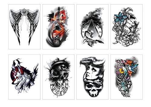 PAMO 8 Blätter Verschiedene Halloween Temporary Tattoos Aufkleber für Männer Frauen Cute Designs Stick on Adult Tattoos Schädel/Fisch/Spinne/Engel/Teufel/Blume/Wolf