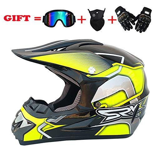Adult Motocross Helmet MX Off Road Helmet Scooter ATV Helmet D.O.T Certified Multicolor with Goggles/Gloves/Mask,blackyellow,XL -