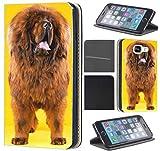 Samsung Galaxy S4 Mini Hülle von CoverHeld Premium Flipcover Schutzhülle Flip Case Motiv (1320 Tibet Dogge Braun Gelb Hund Tier)