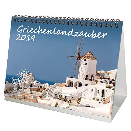 Griechenlandzauber · DIN A5 · Premium Tischkalender/Kalender 2019 · Griechenland · Athen · Kreta · Mykonos · Urlaub · Meer · Geschenk-Set mit 1 Grußkarte und 1 Weihnachtskarte · Edition Seelenzauber