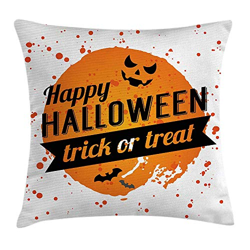 Halloween Throw Pillow Cushion Cover, Happy Halloween Trick or Treat Watercolor Stains Drops Pumpkin Face Bats, Decorative Square Accent Pillow Case, 18 X 18 inches, Orange Black White