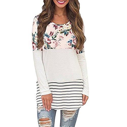 Shirt Pullover Damen Sunday Zurück Spitze Farbblock Tops Blumendruck Langarm T-Shirts Herbst Blusen (Rosa, 5XL) (Sweatshirt Zurück Hooded Bild)