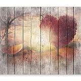 murando - Fototapete Holz Optik 300x210 cm - Vlies Tapete - Moderne Wanddeko - Design Tapete - Wandtapete - Wand Dekoration - Landschaft Baum Herz f-C-0175-a-a