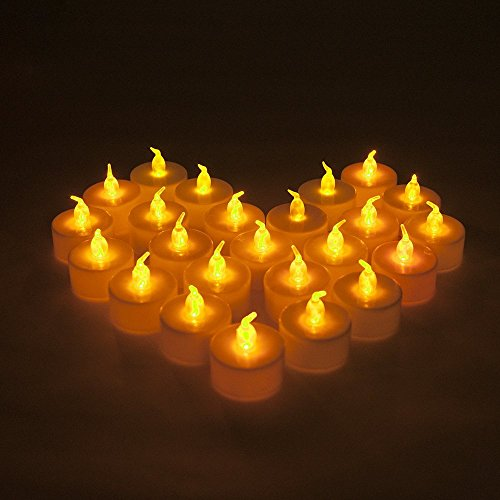 MAXAH Velas LED velas pequeñas 24 Set velas eléctricas, velas de iluminación para vacaciones Navidad / Año Nuevo / cumpleaños / Día de San Valentín / de la boda, etc. (amarillo)