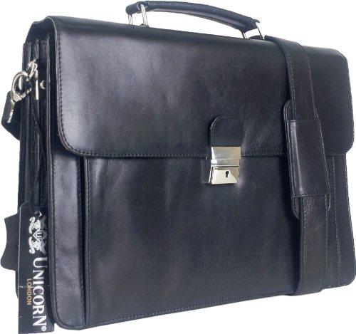 UNICORN Noir Réel en cuir Sac Entreprise Exécutif Serviette clé verrou Messager - Messenger Bag #6N